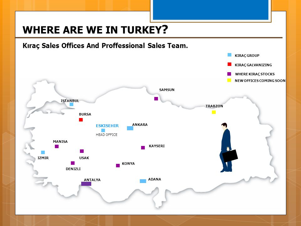 WHERE ARE WE IN TURKEY Kıraç Sales Offices And Proffessional Sales Team.  KIRAÇ GROUP. KIRAÇ GALVANIZING.