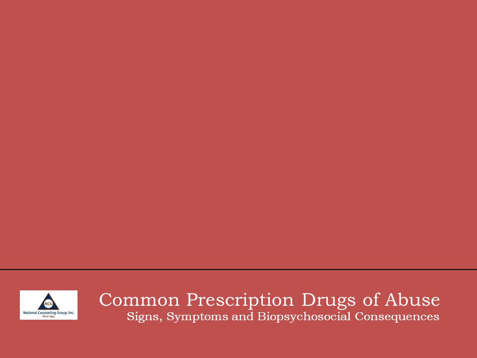 Common Prescription Drugs of Abuse