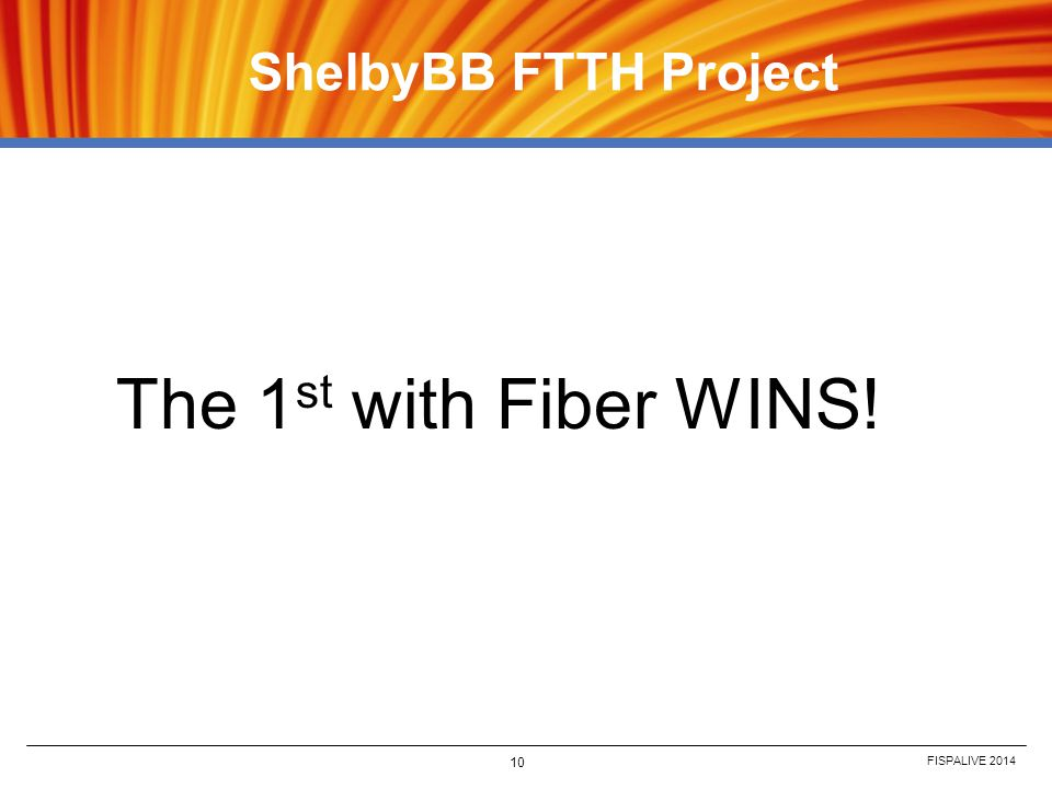 ShelbyBB FTTH Project The 1st with Fiber WINS! FISPALIVE 2014