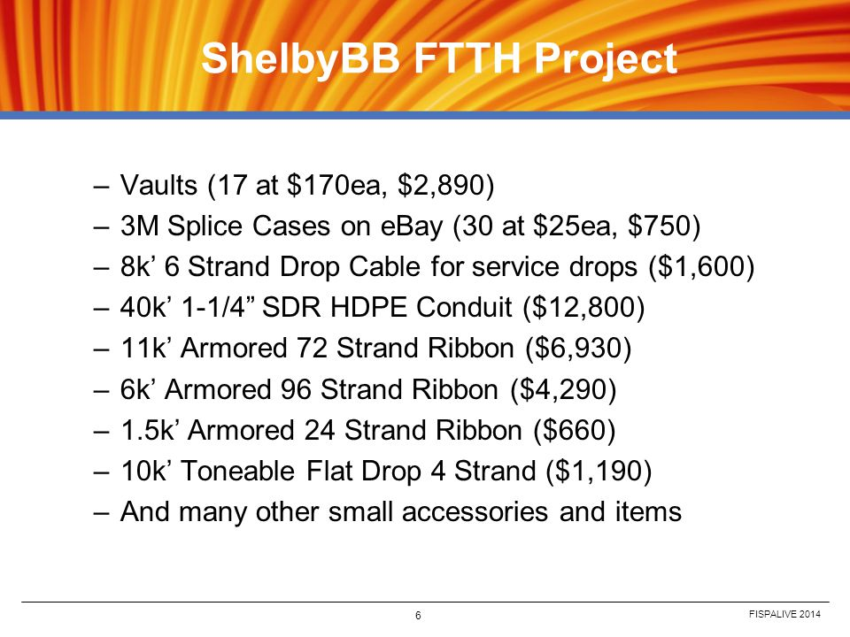 ShelbyBB FTTH Project Vaults (17 at $170ea, $2,890)