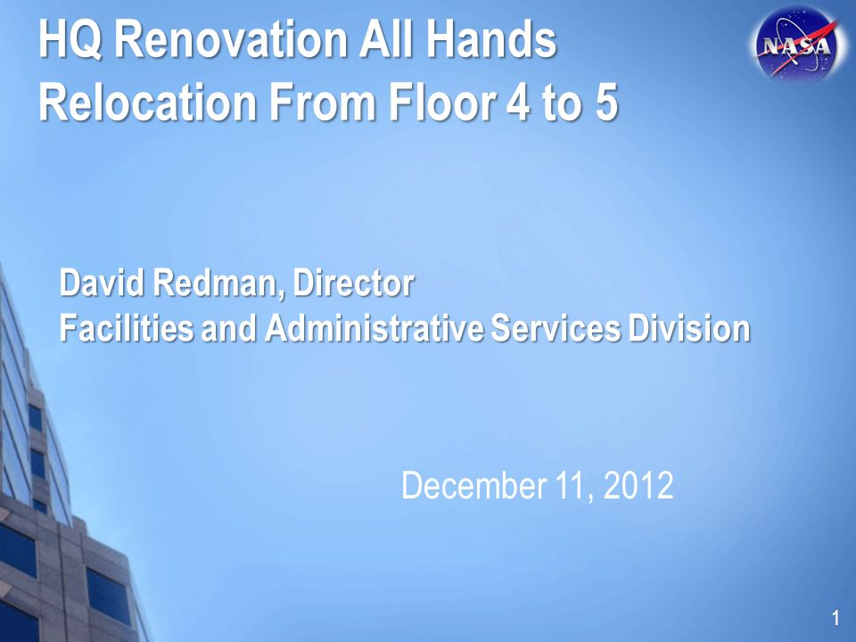 David Redman, Director Facilities and Administrative Services Division