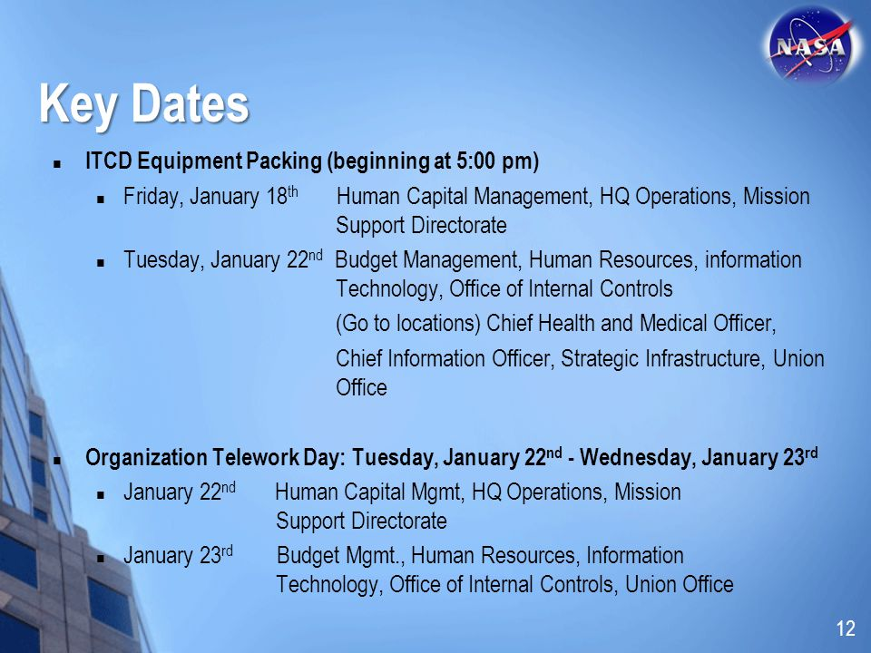 Key Dates ITCD Equipment Packing (beginning at 5:00 pm)