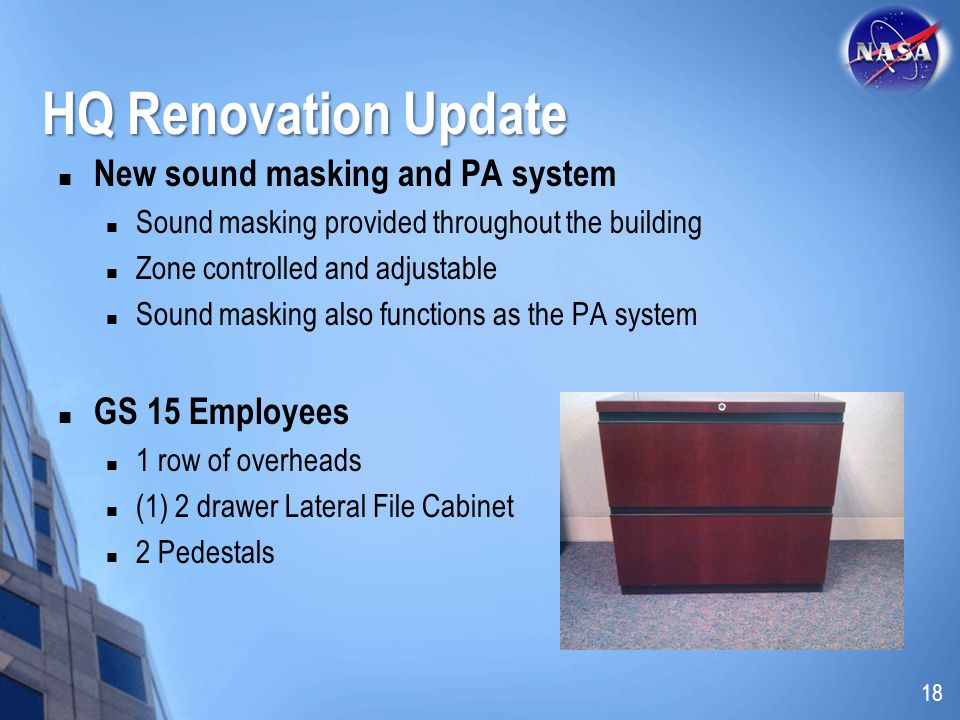 HQ Renovation Update New sound masking and PA system GS 15 Employees