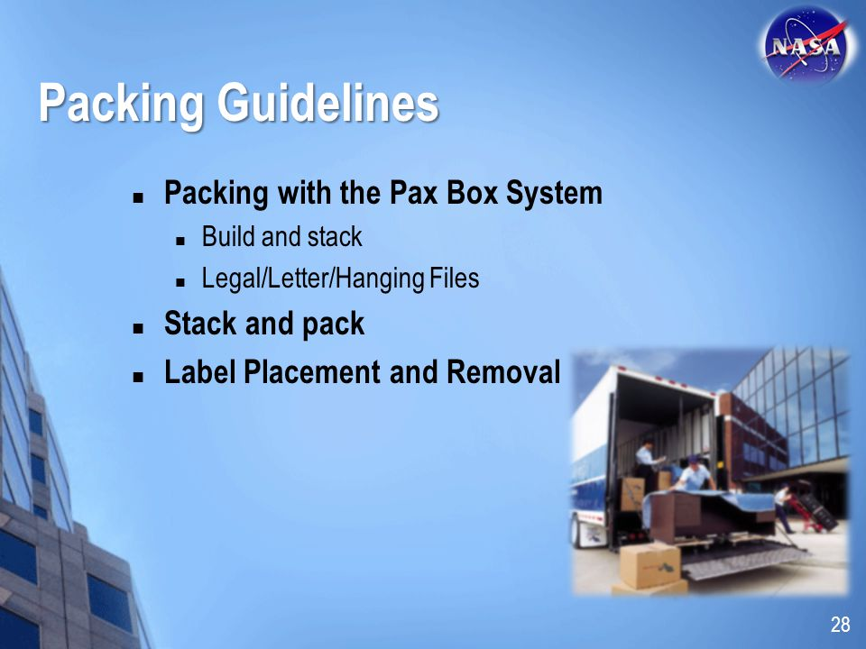 Packing Guidelines Packing with the Pax Box System Stack and pack