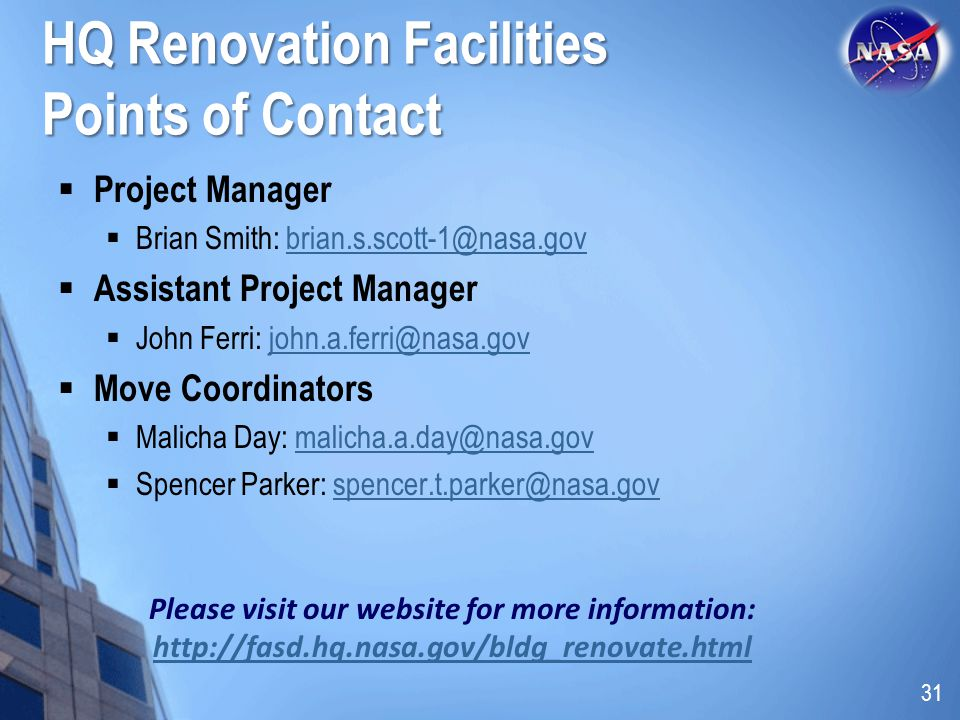 HQ Renovation Facilities Points of Contact