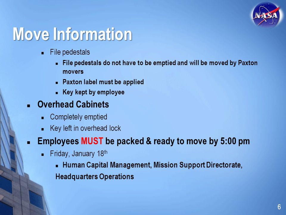 Move Information Overhead Cabinets
