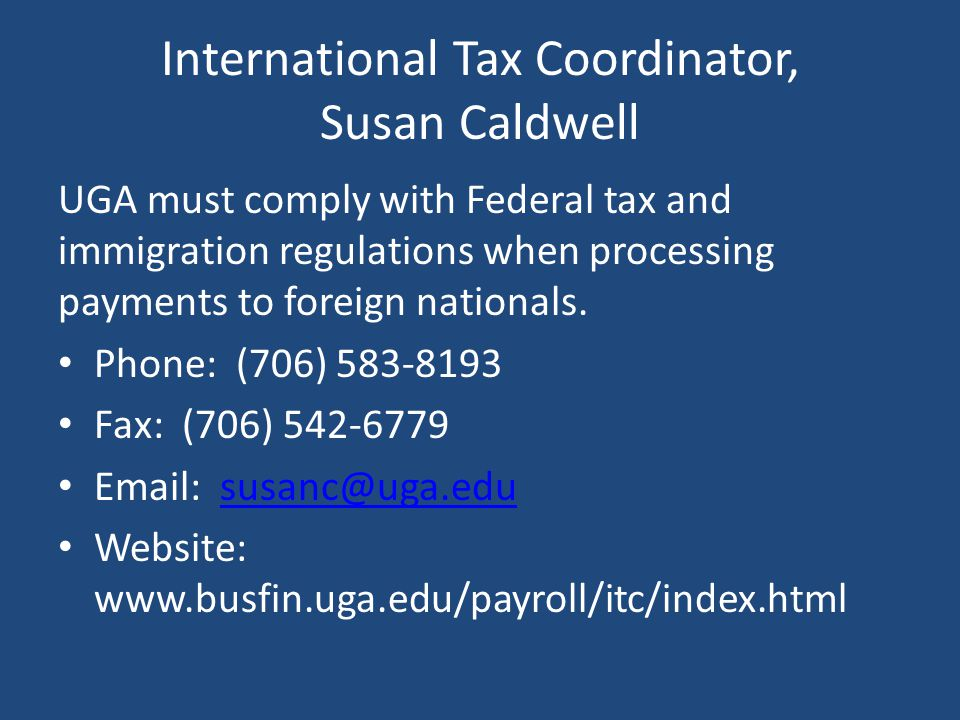 International Tax Coordinator, Susan Caldwell