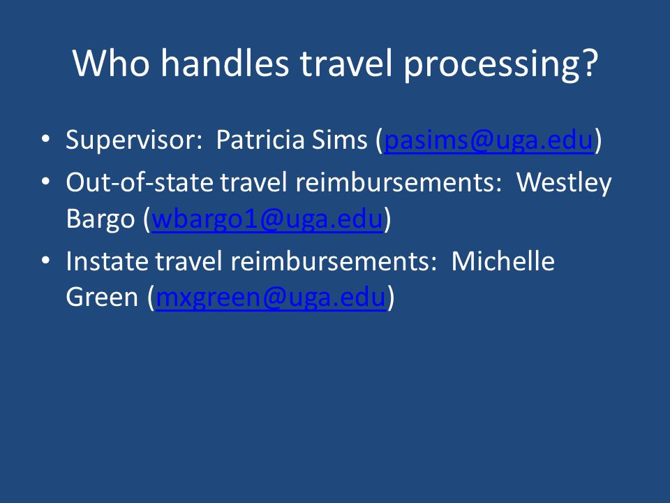 Who handles travel processing