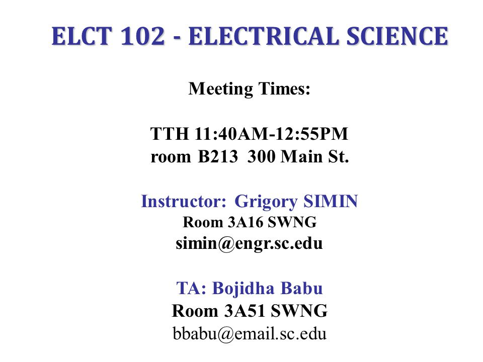 ELCT 102 - ELECTRICAL SCIENCE