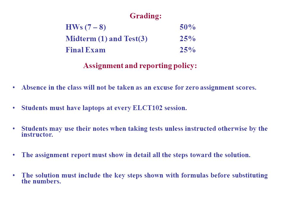 Assignment and reporting policy:
