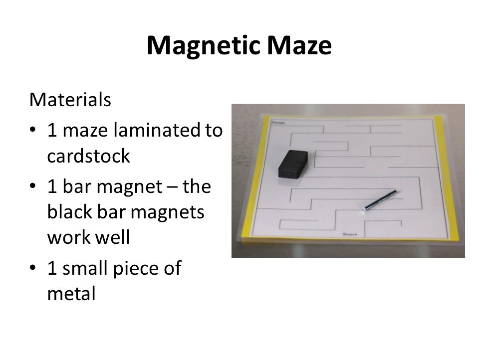 Magnetic Maze Materials 1 maze laminated to cardstock