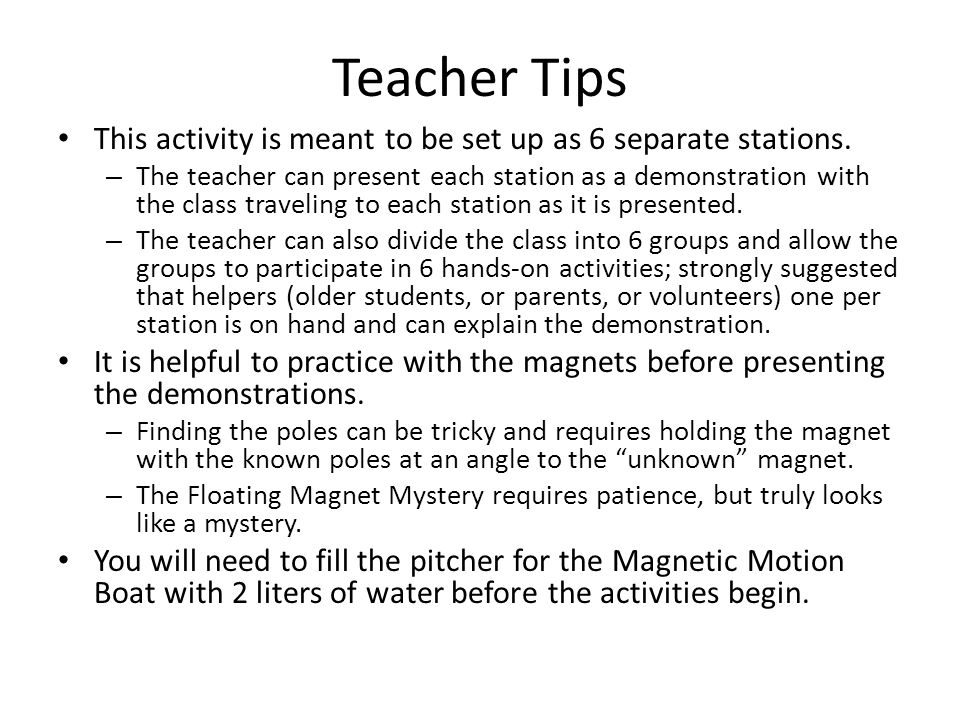 Teacher Tips This activity is meant to be set up as 6 separate stations.