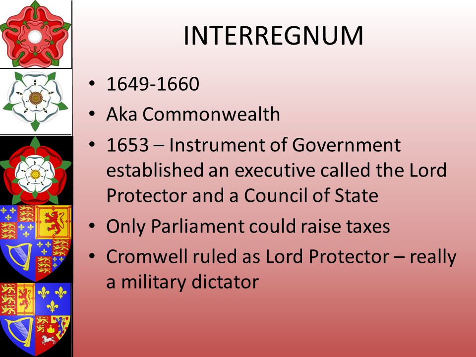 INTERREGNUM 1649-1660 Aka Commonwealth