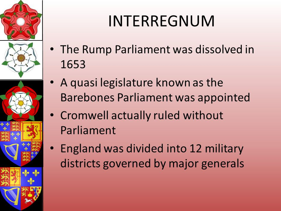 INTERREGNUM The Rump Parliament was dissolved in 1653