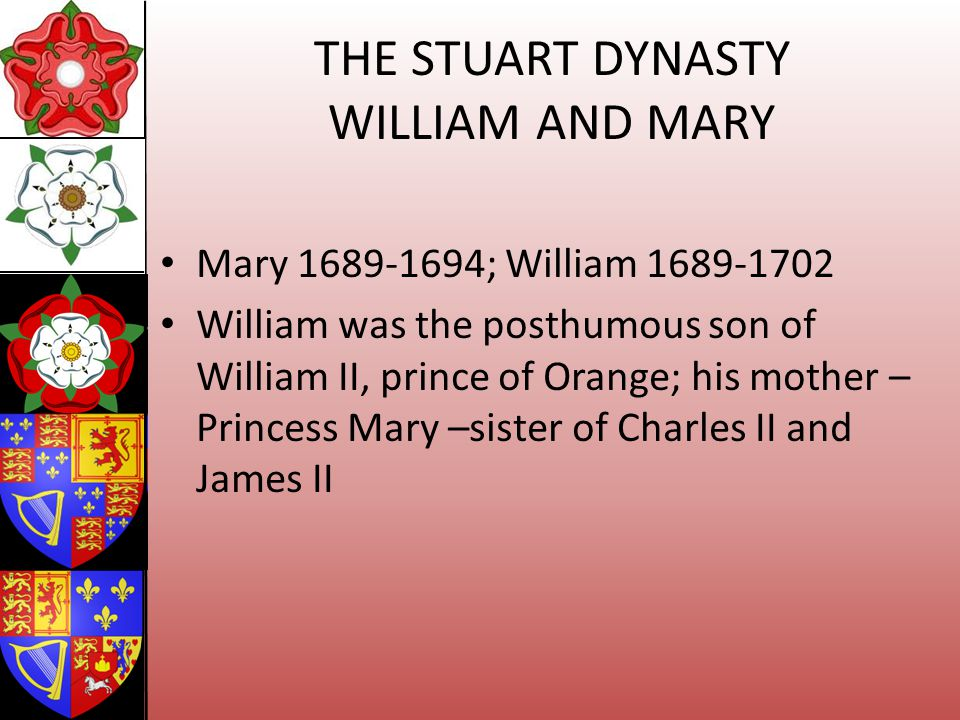 THE STUART DYNASTY WILLIAM AND MARY