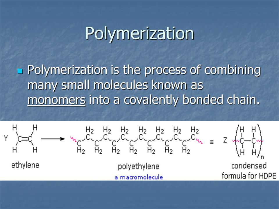Polymerization Polymerization is the process of combining many small molecules known as monomers into a covalently bonded chain.