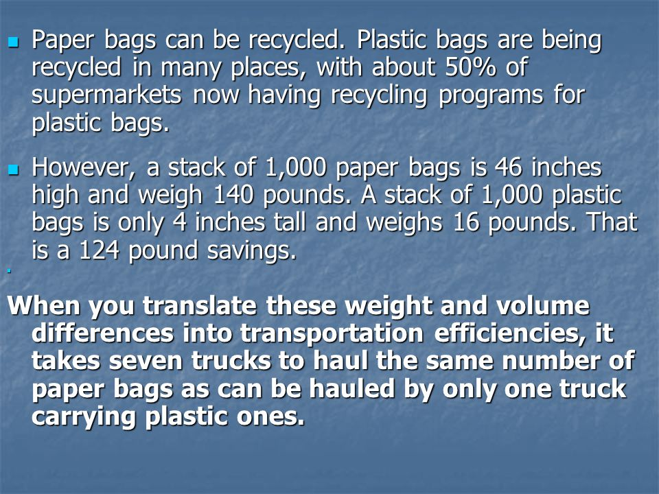 Paper bags can be recycled