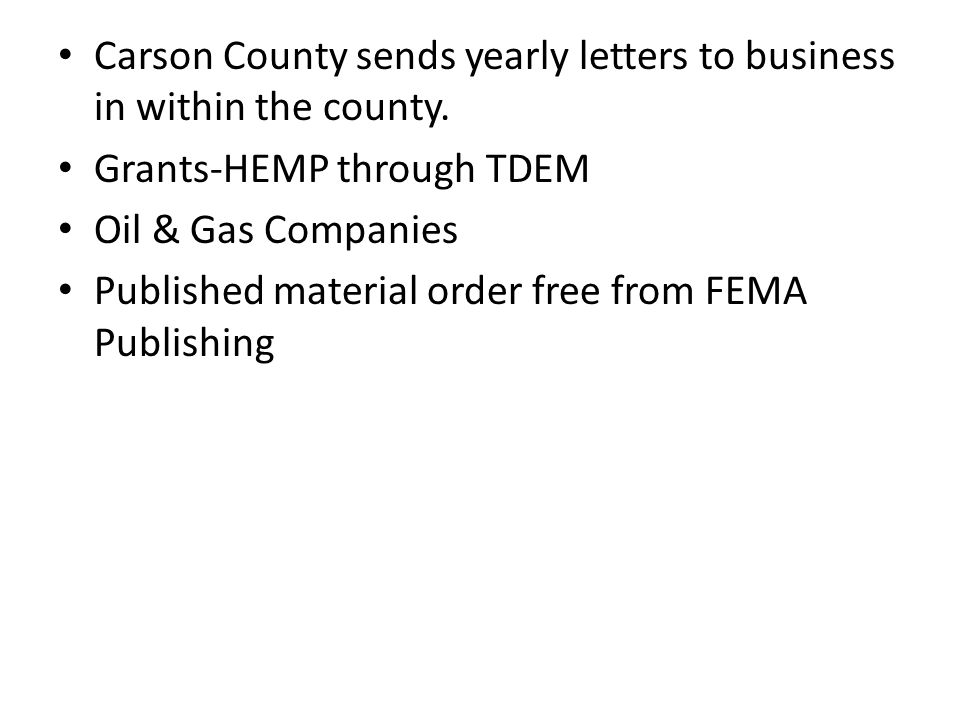 Carson County sends yearly letters to business in within the county.