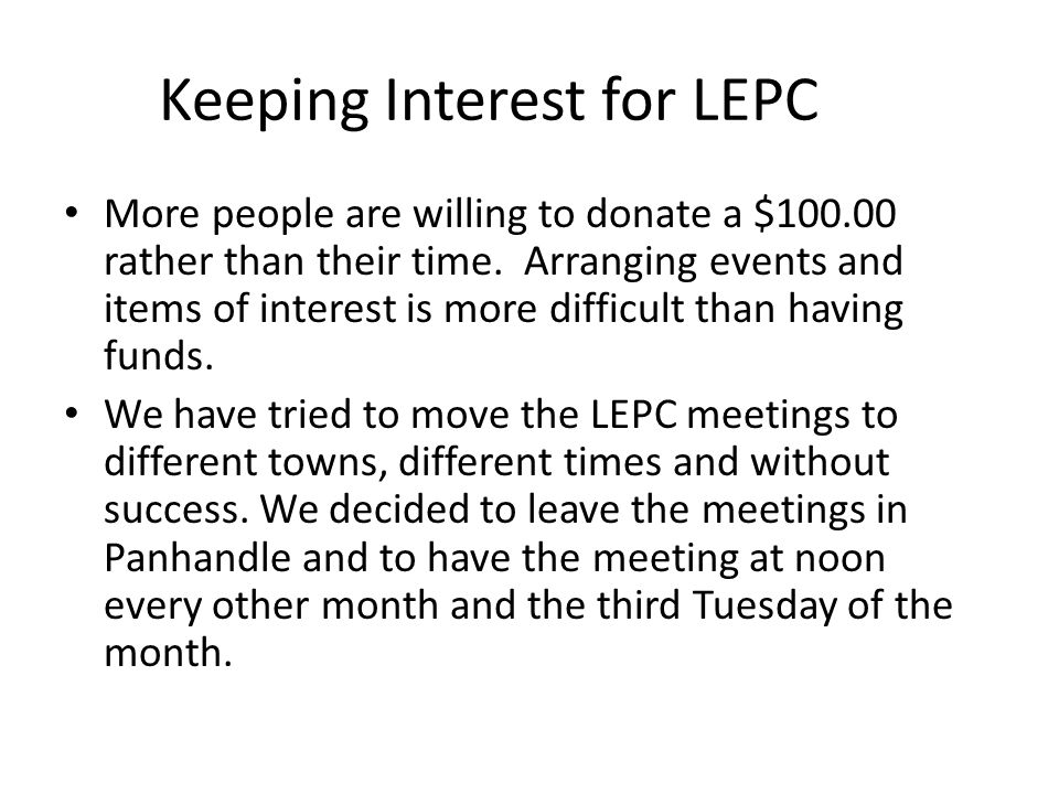 Keeping Interest for LEPC