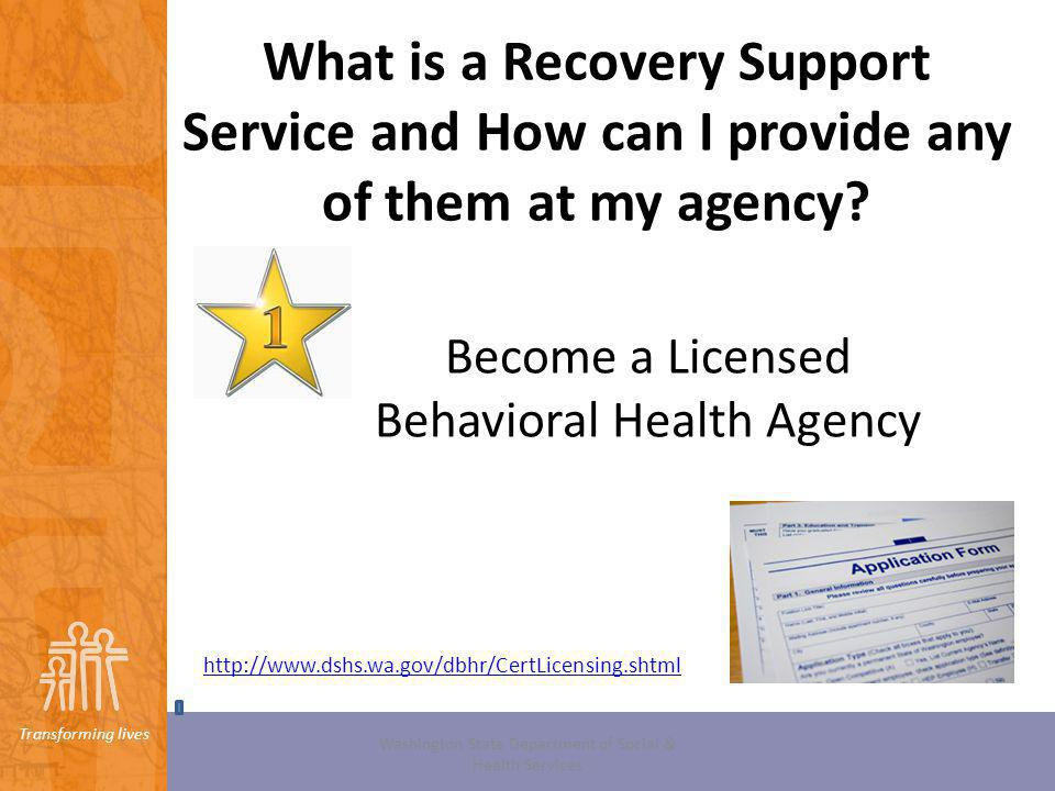 What is a Recovery Support Service and How can I provide any of them at my agency