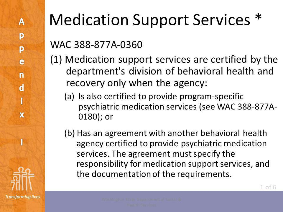 Medication Support Services *