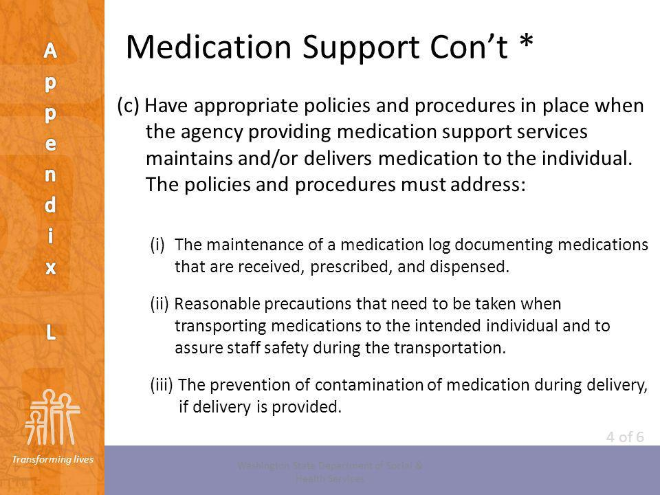 Medication Support Con't *