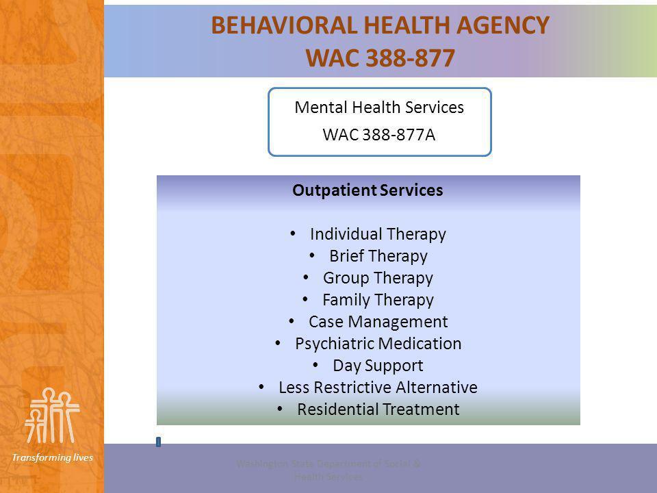 BEHAVIORAL HEALTH AGENCY WAC 388-877