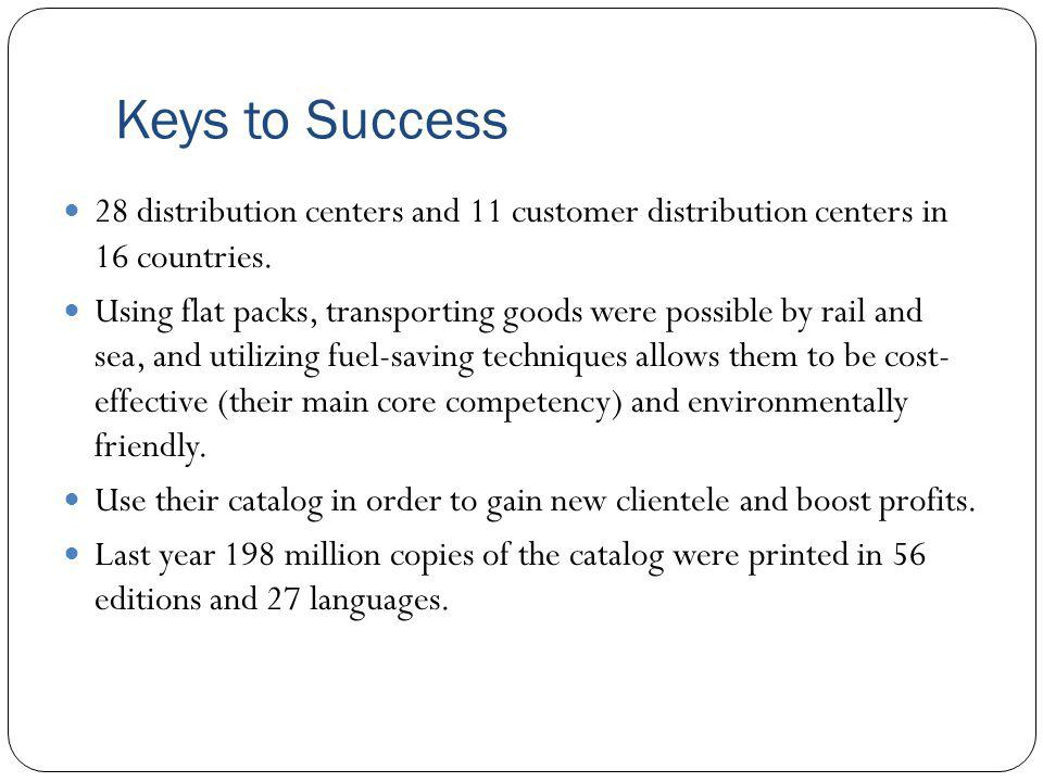Keys to Success 28 distribution centers and 11 customer distribution centers in 16 countries.