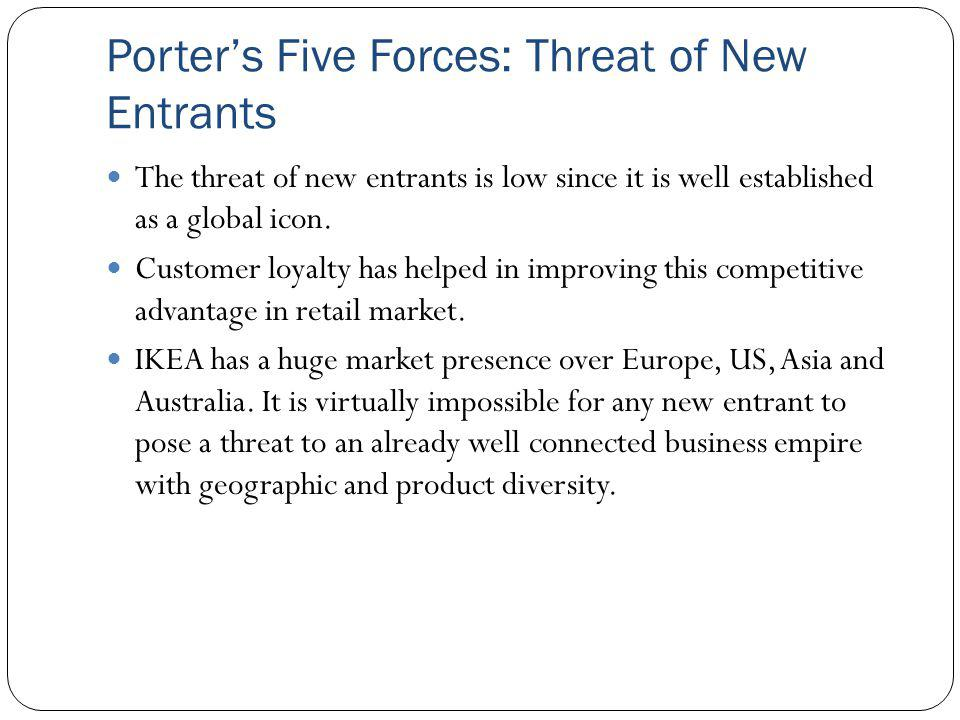 "ikea invades america porter five forces This report examines ikea's strategic position which is influenced by porters five forces, namely through targeting low income furniture buyers through ""needs based positioning"" (porter 1996 as cited in segal-horn, 1998, p79)."