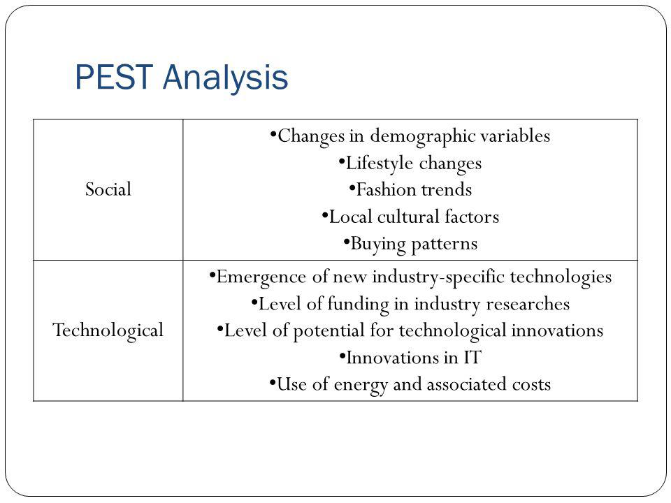 PEST Analysis Social Changes in demographic variables