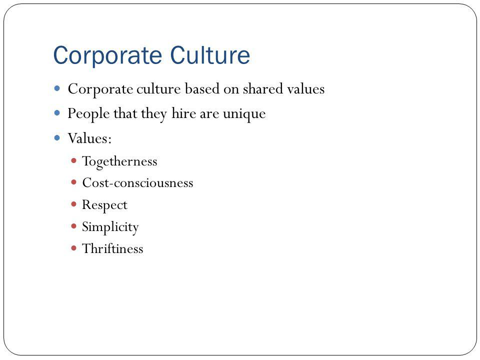 Corporate Culture Corporate culture based on shared values