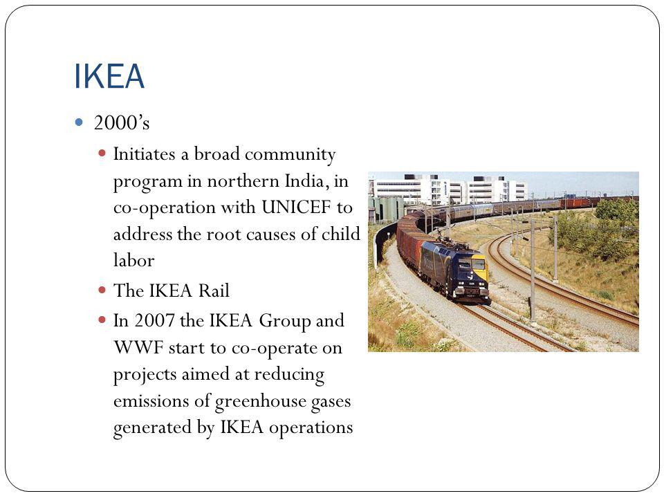 IKEA 2000's. Initiates a broad community program in northern India, in co-operation with UNICEF to address the root causes of child labor.