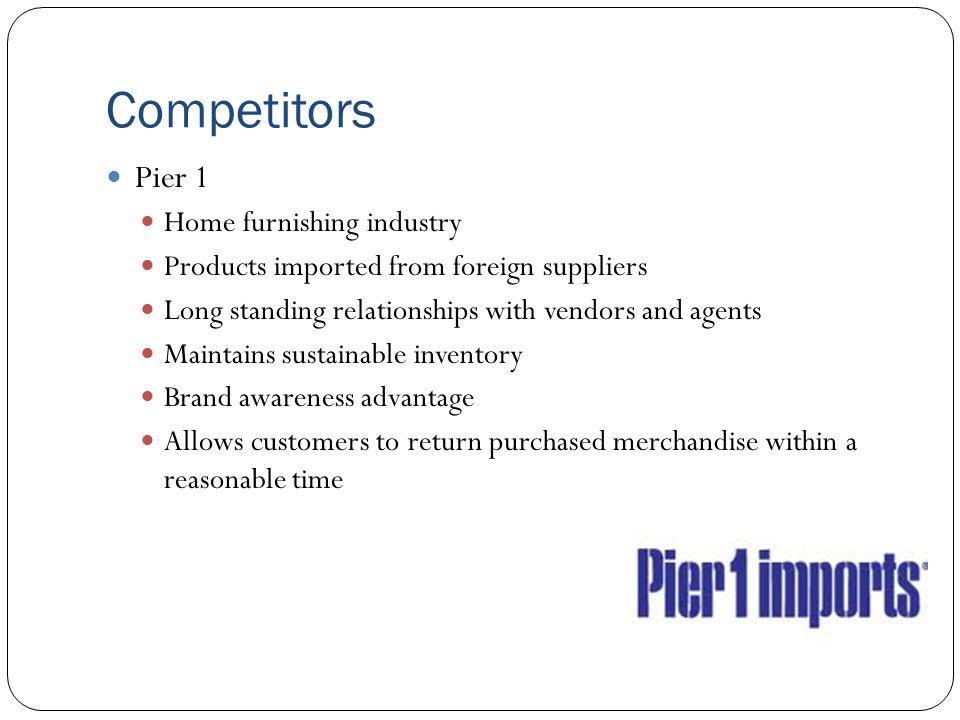 Competitors Pier 1 Home furnishing industry