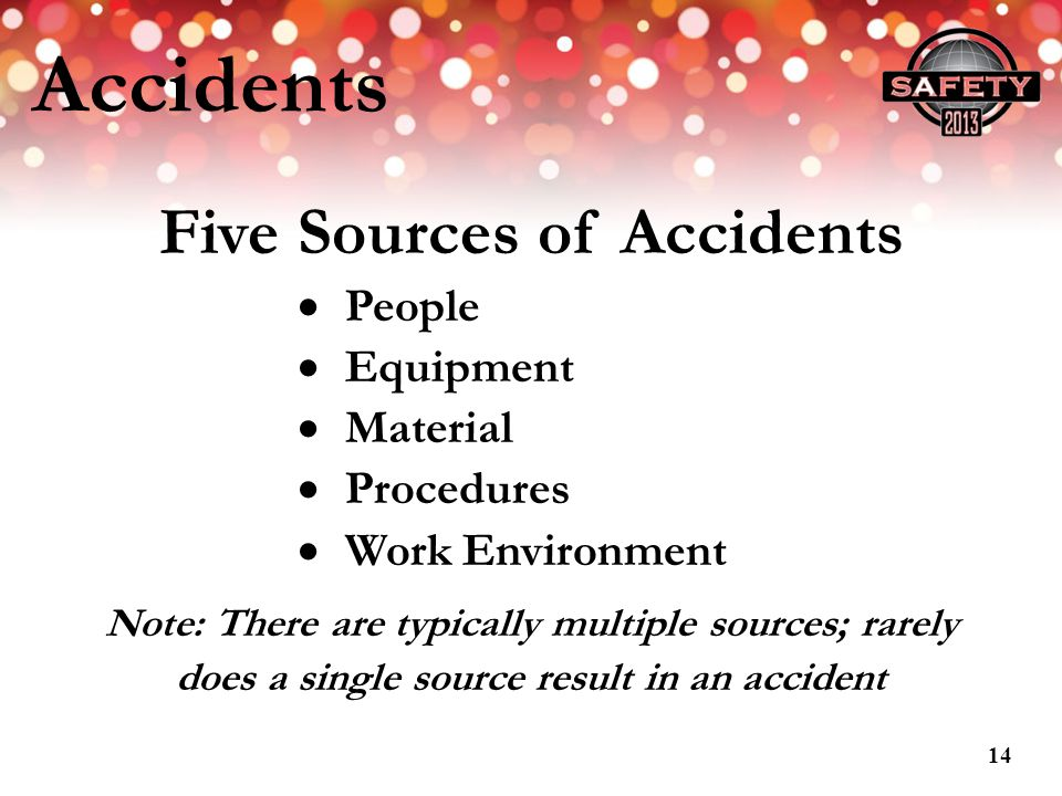 Accidents Five Sources of Accidents People Equipment Material