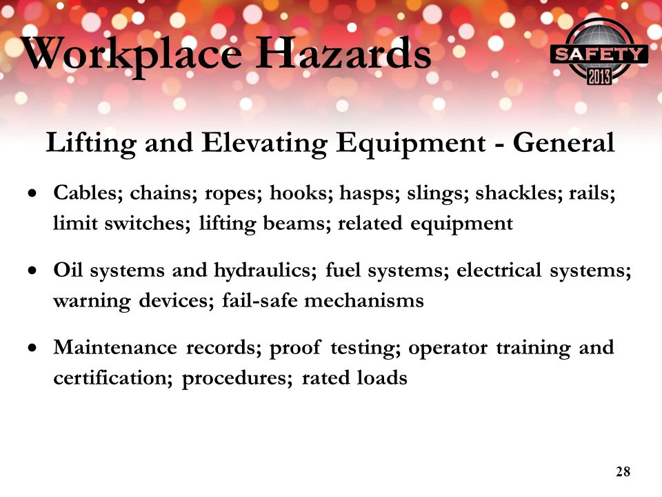 Lifting and Elevating Equipment - General