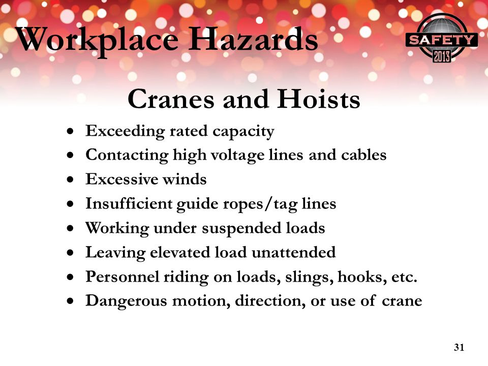Workplace Hazards Cranes and Hoists Exceeding rated capacity