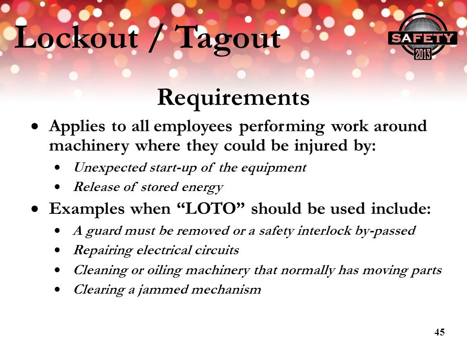 Lockout / Tagout Requirements