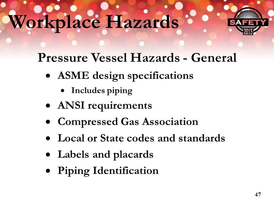 Pressure Vessel Hazards - General