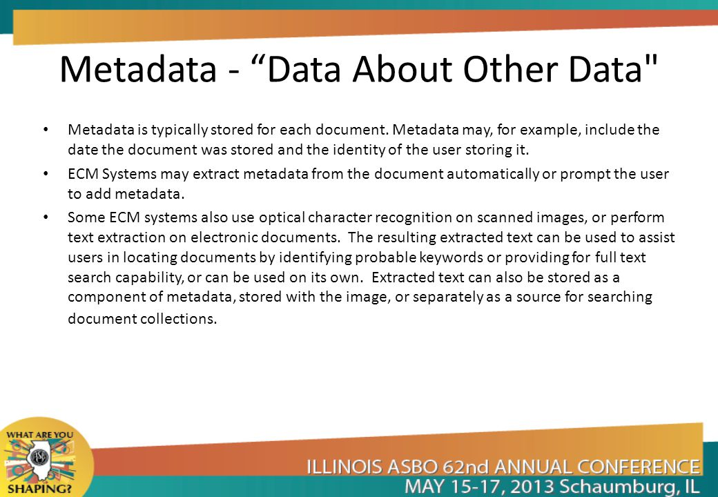 Metadata - Data About Other Data