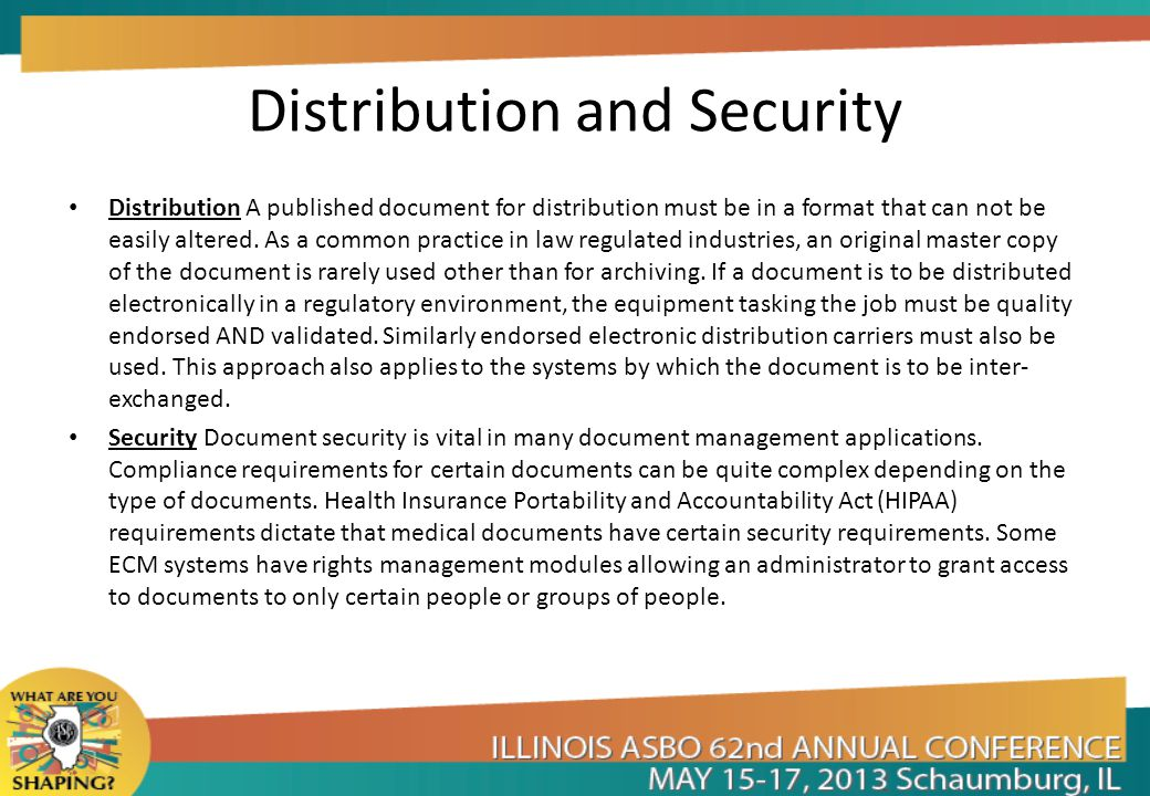 Distribution and Security