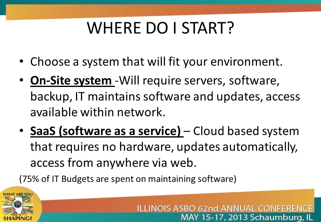 WHERE DO I START Choose a system that will fit your environment.