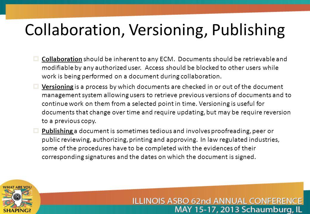 Collaboration, Versioning, Publishing