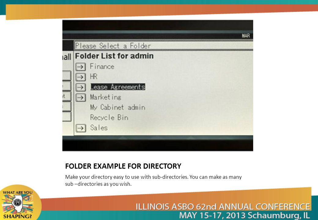 FOLDER EXAMPLE FOR DIRECTORY