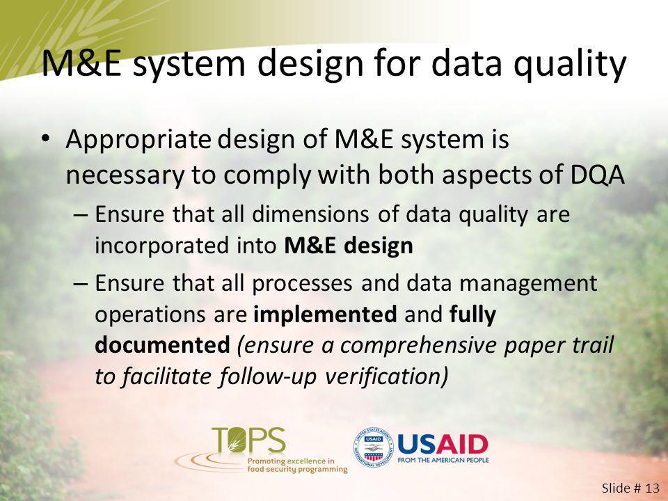 M&E system design for data quality