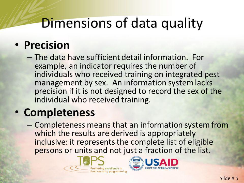 Dimensions of data quality