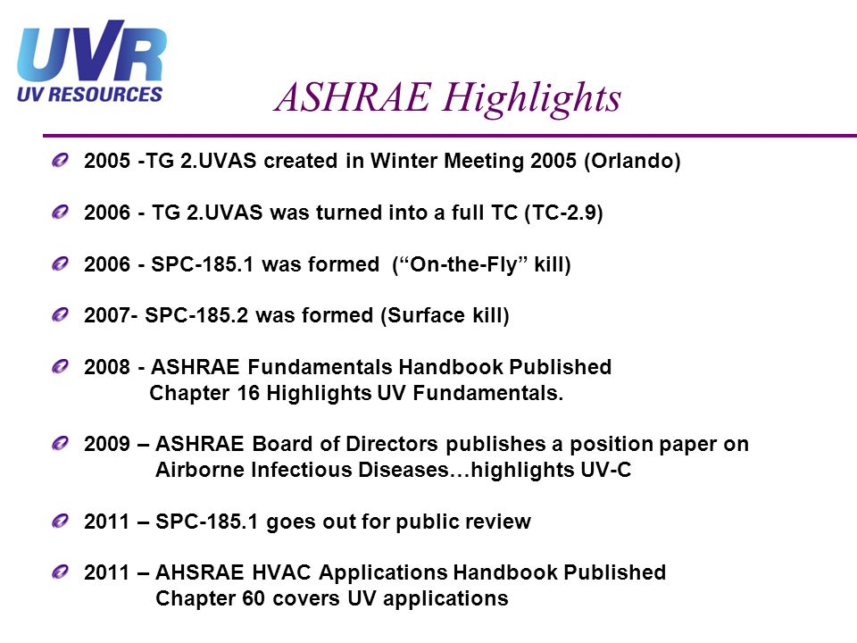ASHRAE Highlights 2005 -TG 2.UVAS created in Winter Meeting 2005 (Orlando) 2006 - TG 2.UVAS was turned into a full TC (TC-2.9)
