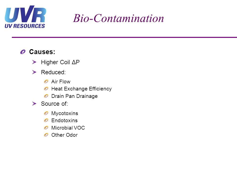Bio-Contamination Causes: Higher Coil ΔP Reduced: Source of: Air Flow
