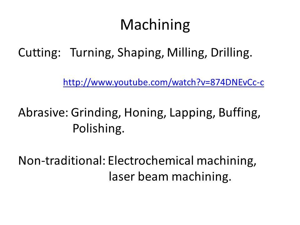 Machining Cutting: Turning, Shaping, Milling, Drilling.