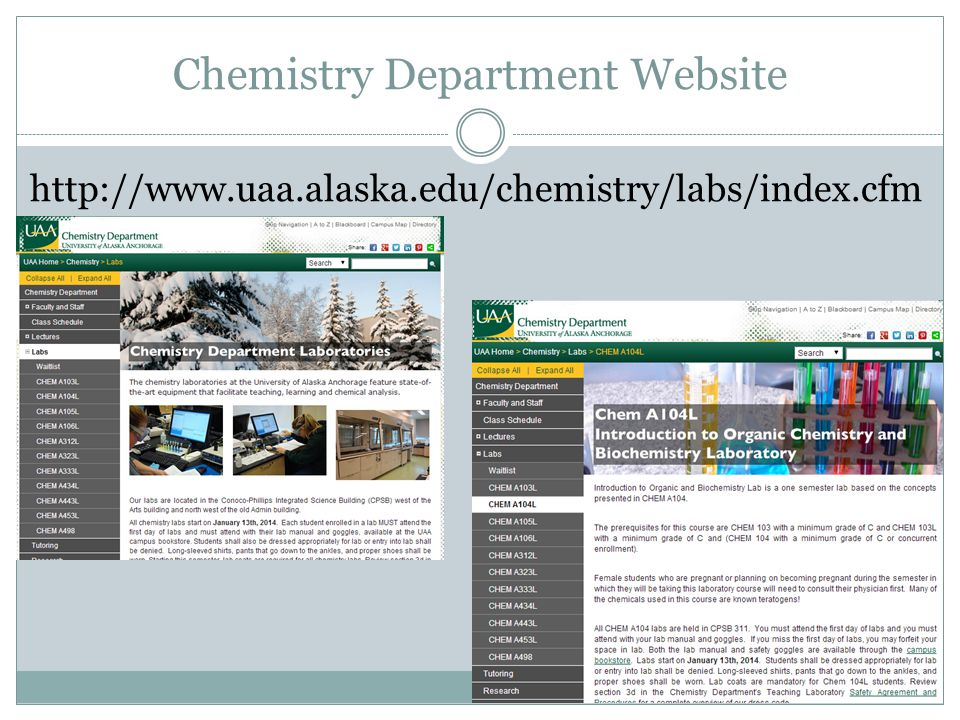 Chemistry Department Website
