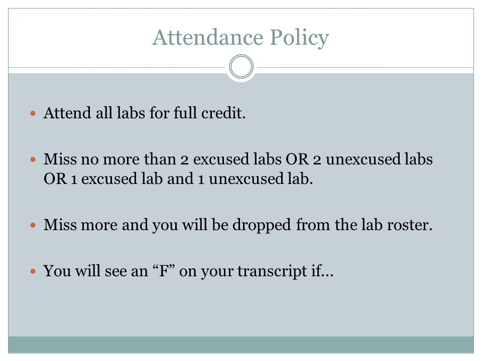 Attendance Policy Attend all labs for full credit.